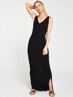 922e2c0d7149a V by Very Wrap Split Jersey Maxi Dress - Black