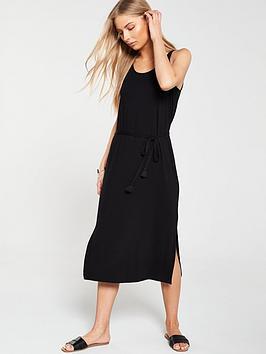 v-by-very-tie-cord-split-vest-midi-dress-black