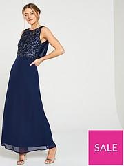 edf993e845fa Little Mistress Bridesmaid High Neck Embellished Top Cowl Back Maxi Dress -  Navy