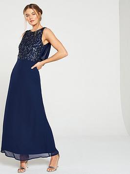little-mistress-bridesmaid-high-neck-embellished-top-cowl-back-maxi-dress-navy
