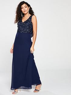 little-mistress-little-mistress-bridesmaid-v-neck-embellished-top-cowl-back-maxi-dress