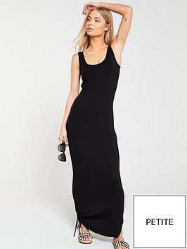 v-by-very-petite-side-gather-jersey-maxi-dress-black