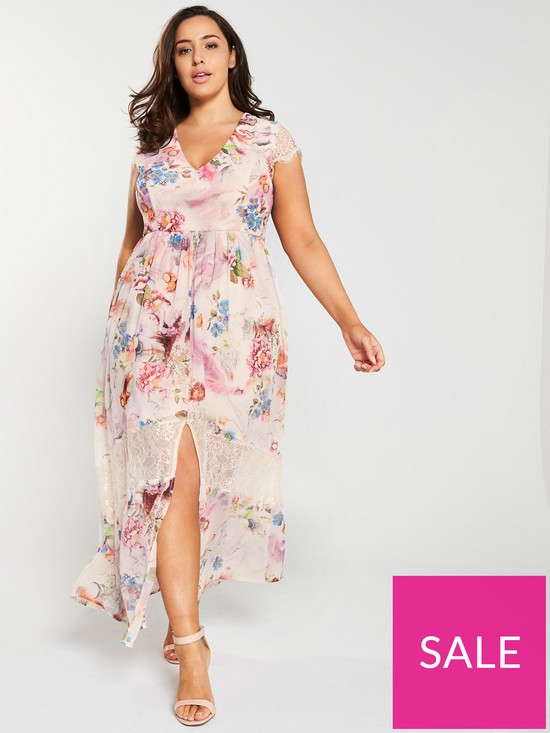 179b0439740cce Little Mistress Curve Lace Trim Floral Printed Maxi Dress - Pink ...