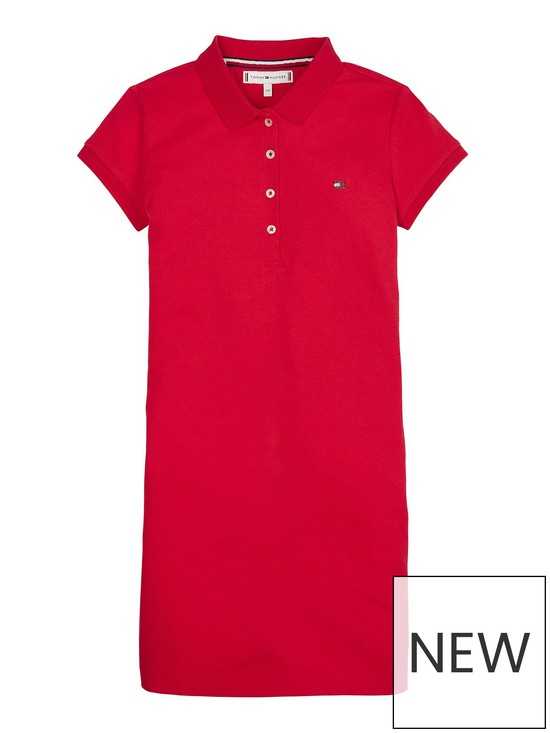 Tommy Hilfiger Girls Essential Flag Polo Dress - Red  c3a92db767