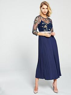 da540686378 Little Mistress Mesh Top Embroidered Midaxi Dress - Navy