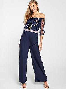 795412ab8dc2 Little Mistress Bardot Mesh Top Embroidered Jumpsuit - Navy