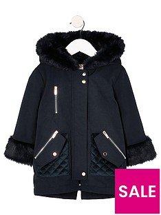 river-island-mini-mini-girls-navy-faux-fur-trim-parka-jacket