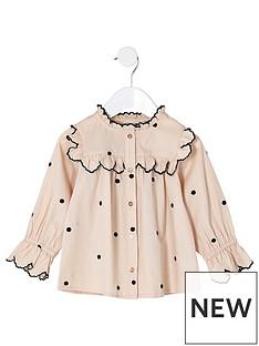 river-island-mini-mini-girls-cream-poplin-polka-dot-swing-shirt