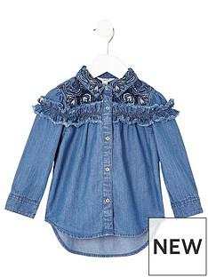 river-island-mini-mini-girls-blue-frill-denim-swing-shirt
