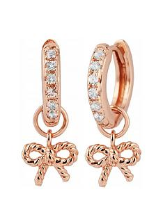 olivia-burton-olivia-burton-18k-rose-gold-plated-and-white-topaz-vintage-bow-huggie-hoop-earrings