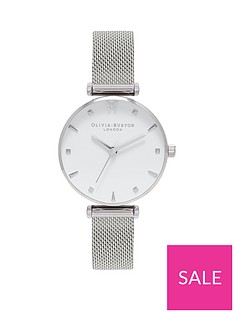 olivia-burton-olivia-burton-social-butterfly-white-and-silver-midi-dial-silver-stainless-steel-mesh-strap-ladies-watch