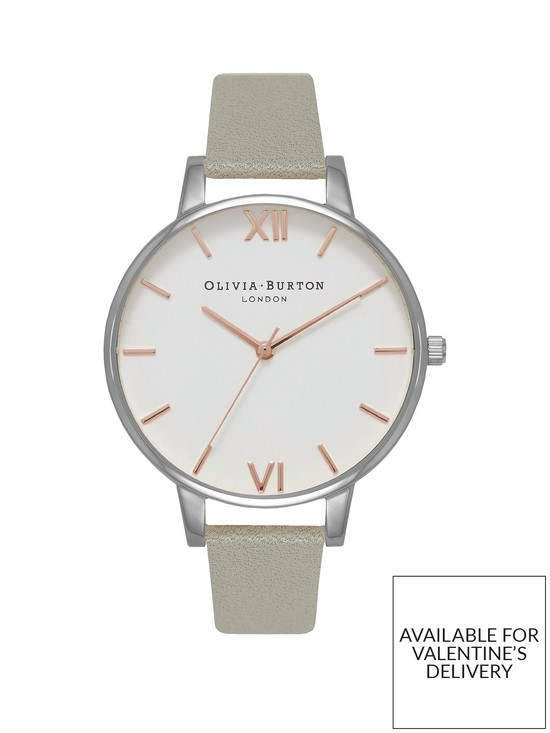 fc5d126f6 Olivia Burton Olivia Burton White with Rose Gold and Silver Detail Big Dial  Grey Leather Strap Ladies Watch