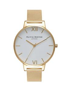 olivia-burton-olivia-burton-white-and-gold-big-dial-gold-stainless-steel-mesh-strap-ladies-watch