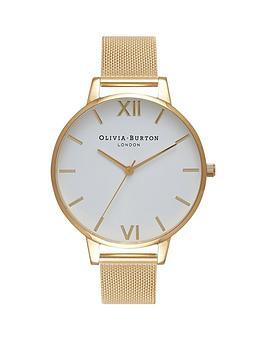 olivia-burton-olivia-burton-white-and-gold-big-dial-gold-stainless-steel-mesh-strap-ladies-watch