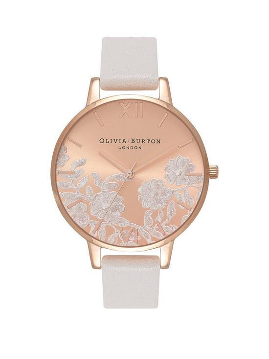 db71e8b67 Olivia Burton Olivia Burton Rose Gold and White Lace Big Dial White Leather  Strap Ladies Watch