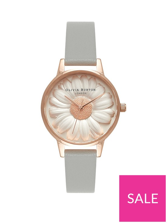 cf419bd49 Olivia Burton Olivia Burton White and Rose Gold 3D Daisy Midi Dial Grey  Leather Strap Ladies Watch