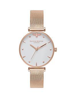 olivia-burton-olivia-burton-white-and-rose-gold-3d-mini-bee-midi-dial-rose-gold-stainless-steel-mesh-strap-ladies-watch