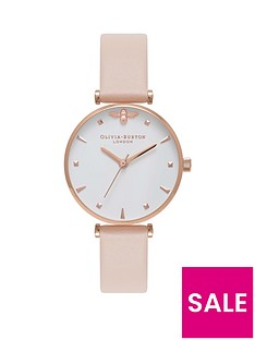 olivia-burton-olivia-burton-white-and-rose-gold-3d-mini-bee-midi-dial-peach-leather-strap-ladies-watch