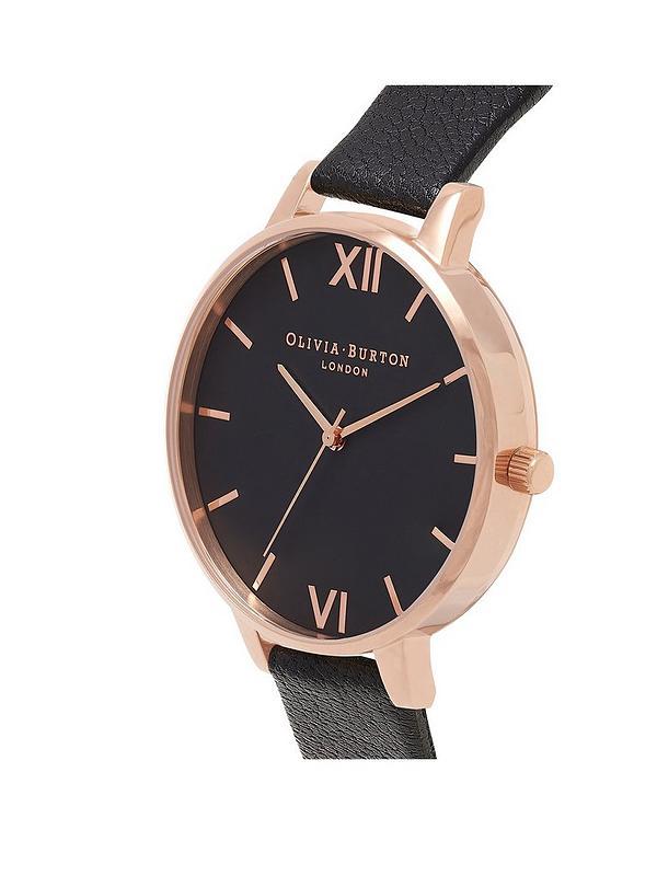 3a22cdb05 Olivia Burton Olivia Burton Black and Rose Gold Big Dial Black Leather Strap  Ladies Watch | very.co.uk
