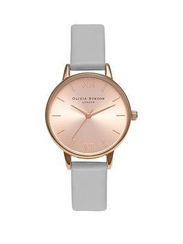 olivia-burton-olivia-burton-pink-and-rose-gold-sunray-midi-dial-grey-leather-strap-ladies-watch