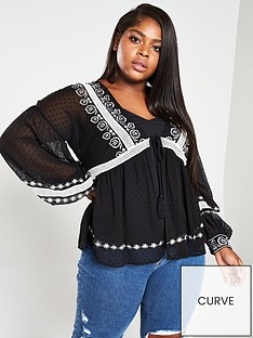 b1465149915 V by Very Curve Embroidered Tassel Trim Blouse with Cami - Black
