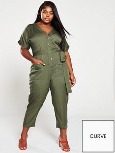 47118b37c5c V by Very Curve Button Through Utility Jumpsuit