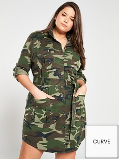 13ea8a40b4 V by Very Curve Camo Print Utility Shirt Dress - Camouflage