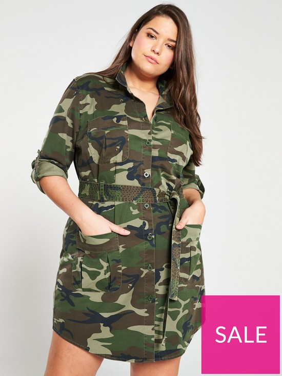12531666d004c V by Very Curve Camo Print Utility Shirt Dress - Camouflage   very.co.uk