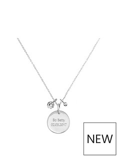 the-love-silver-collection-personalised-sterling-silver-disc-pendant-necklace-with-cubic-zirconia-charms