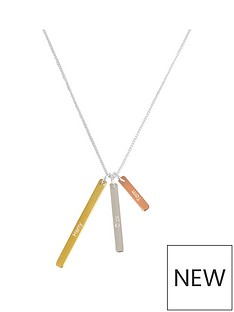 the-love-silver-collection-personalised-18ct-gold-plated-silver-triple-bar-pendant-necklace