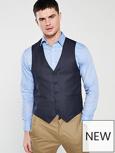 v-by-very-regular-fit-check-waistcoat-navy