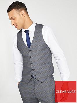 v-by-very-check-waistcoat-grey