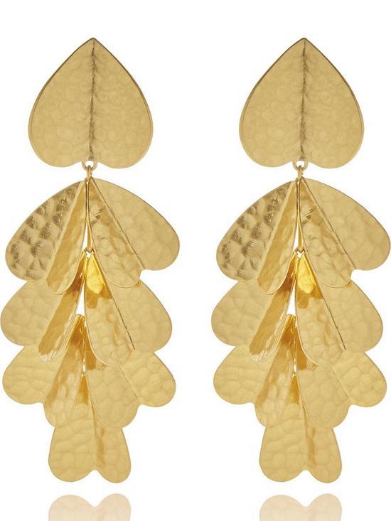 095777ca2eee7 Metal Petal Statement Earrings - Gold