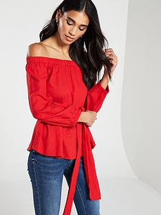 872d03a2bea7f V by Very Linen Bardot Top - Red