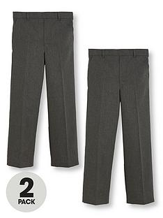 850f962c21 V by Very Boys 2 Pack Pull On School Trousers - Grey