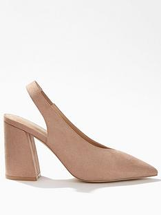 be078919b9b2 Miss Selfridge High Vamp Slingback High Block Heel - Nude