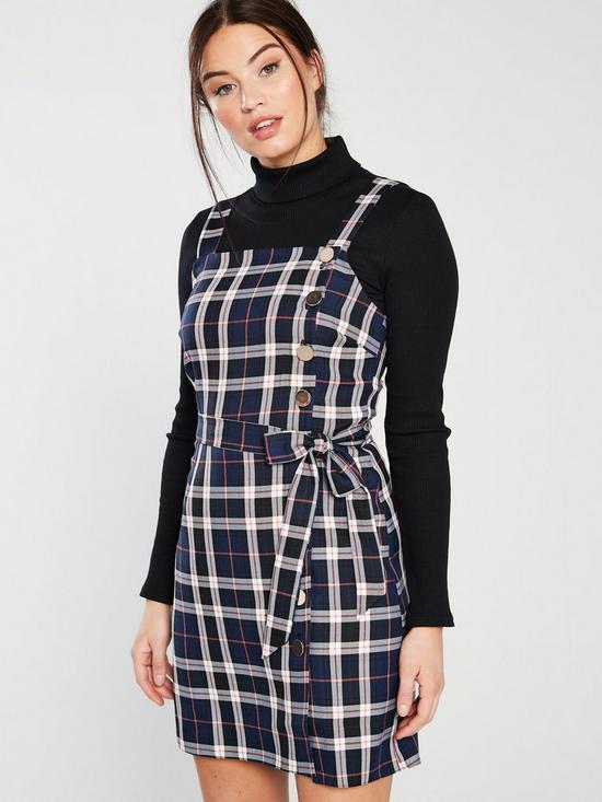 50b94de497 Miss Selfridge Check Tie Waist Pinny Dress - Blue