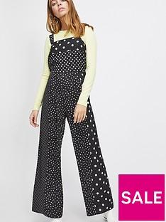 edfc4d44e1e Miss Selfridge Petite Polka Dot Pinny Jumpsuit - Black
