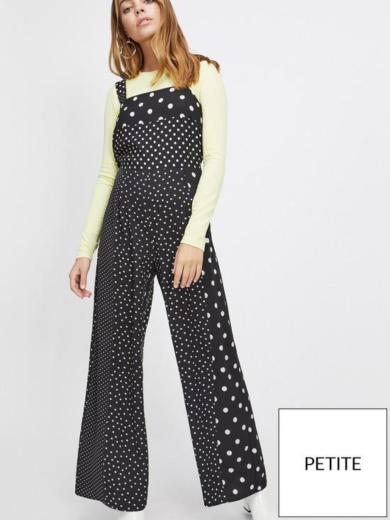49b2c159551 Miss Selfridge Petite Polka Dot Pinny Jumpsuit - Black