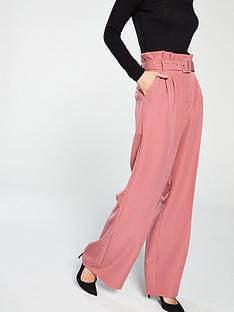 miss-selfridge-plain-belted-wide-leg-trouser-rust