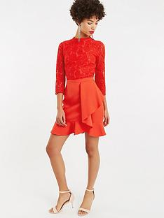 oasis-lace-top-flounce-shift-dress-red