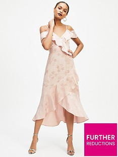 47d4eca2535d Miss Selfridge Jacquard Cold Shoulder Dress - Pale Pink