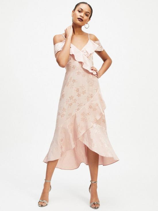 99270a98f53 Miss Selfridge Jacquard Cold Shoulder Dress - Pale Pink