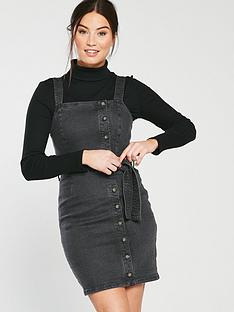 b1720dd4a7c1a Miss Selfridge Belted Button Denim Pinny Dress - Black