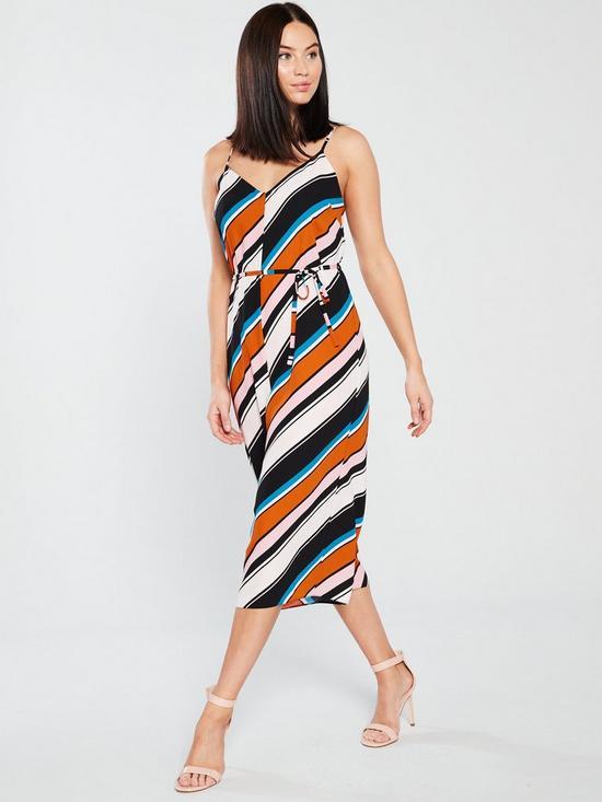 246d055a3000 Miss Selfridge Coloured Stripe Strappy Jumpsuit - Multi   very.co.uk