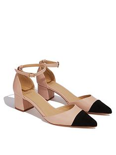 6fd76880567 Oasis Suede Toe Colour Blocked Pointed Blocked Heeled Shoes - Nude Black