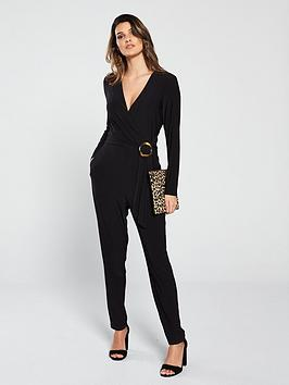 wallis-horn-ring-wrap-jumpsuit-black