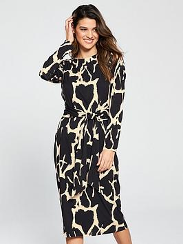 wallis-cow-hide-jersey-midi-dress-black