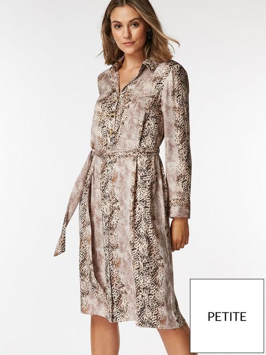 59944661d30ea Wallis Petite Snake Shirt Dress - Neutral