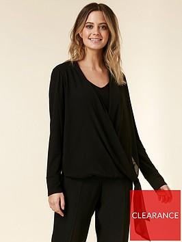 wallis-petite-tie-front-overlayer-top-black
